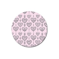 Sketches Ornamental Hearts Pattern Magnet 3  (round) by TastefulDesigns