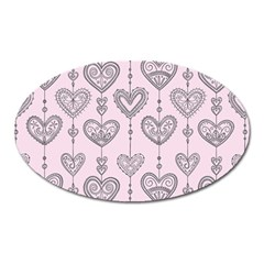 Sketches Ornamental Hearts Pattern Oval Magnet by TastefulDesigns