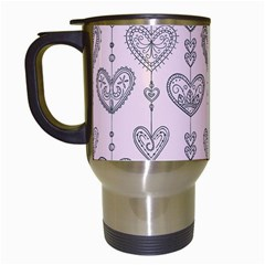 Sketches Ornamental Hearts Pattern Travel Mugs (white)