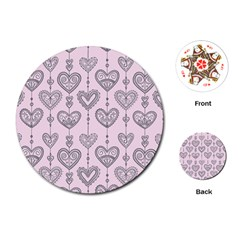 Sketches Ornamental Hearts Pattern Playing Cards (round)  by TastefulDesigns