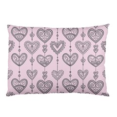 Sketches Ornamental Hearts Pattern Pillow Case