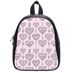 Sketches Ornamental Hearts Pattern School Bags (small)