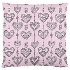 Sketches Ornamental Hearts Pattern Large Cushion Case (one Side)