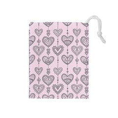 Sketches Ornamental Hearts Pattern Drawstring Pouches (medium)