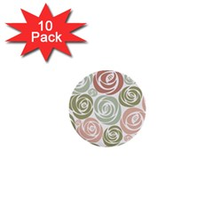 Retro Elegant Floral Pattern 1  Mini Buttons (10 Pack)