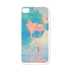 Two Pink Flamingos Pop Art Apple Iphone 4 Case (white) by WaltCurleeArt