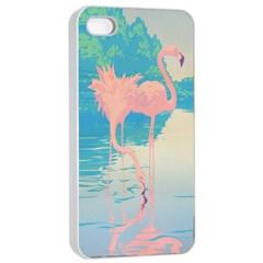 Two Pink Flamingos Pop Art Apple Iphone 4/4s Seamless Case (white) by WaltCurleeArt