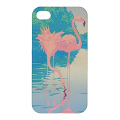 Two Pink Flamingos Pop Art Apple Iphone 4/4s Premium Hardshell Case by WaltCurleeArt