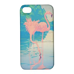 Two Pink Flamingos Pop Art Apple Iphone 4/4s Hardshell Case With Stand by WaltCurleeArt