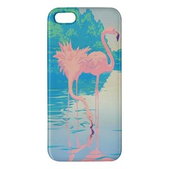 Two Pink Flamingos Pop Art Apple Iphone 5 Premium Hardshell Case by WaltCurleeArt