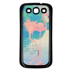 Two Pink Flamingos Pop Art Samsung Galaxy S3 Back Case (black) by WaltCurleeArt