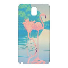 Two Pink Flamingos Pop Art Samsung Galaxy Note 3 N9005 Hardshell Back Case by WaltCurleeArt