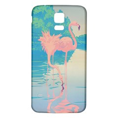 Two Pink Flamingos Pop Art Samsung Galaxy S5 Back Case (white) by WaltCurleeArt