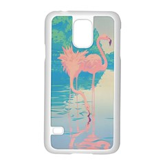 Two Pink Flamingos Pop Art Samsung Galaxy S5 Case (white) by WaltCurleeArt
