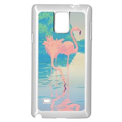 Two Pink Flamingos Pop Art Samsung Galaxy Note 4 Case (white) by WaltCurleeArt