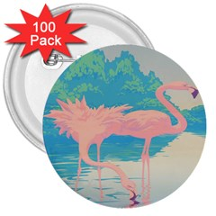 Two Pink Flamingos Pop Art 3  Buttons (100 Pack)  by WaltCurleeArt