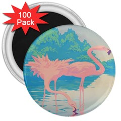 Two Pink Flamingos Pop Art 3  Magnets (100 Pack) by WaltCurleeArt