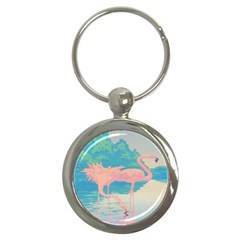 Two Pink Flamingos Pop Art Key Chains (round)  by WaltCurleeArt