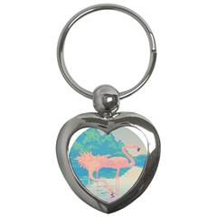 Two Pink Flamingos Pop Art Key Chains (heart)  by WaltCurleeArt