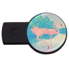 Two Pink Flamingos Pop Art Usb Flash Drive Round (2 Gb)  by WaltCurleeArt