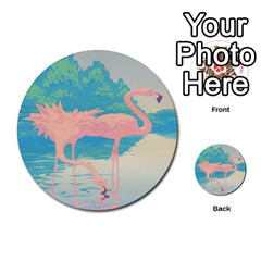 Two Pink Flamingos Pop Art Multi Purpose Cards (round)  by WaltCurleeArt