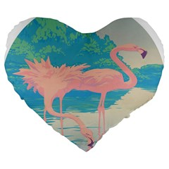 Two Pink Flamingos Pop Art Large 19  Premium Heart Shape Cushions by WaltCurleeArt