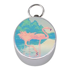 Two Pink Flamingos Pop Art Mini Silver Compasses by WaltCurleeArt