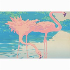 Two Pink Flamingos Pop Art Canvas 12  X 18   by WaltCurleeArt