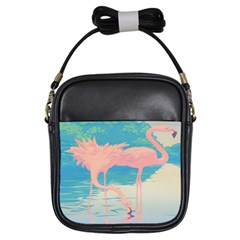 Two Pink Flamingos Pop Art Girls Sling Bags by WaltCurleeArt