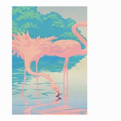 Two Pink Flamingos Pop Art Small Garden Flag (two Sides) by WaltCurleeArt