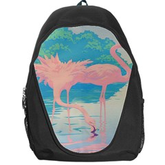 Two Pink Flamingos Pop Art Backpack Bag by WaltCurleeArt