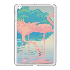 Two Pink Flamingos Pop Art Apple Ipad Mini Case (white) by WaltCurleeArt