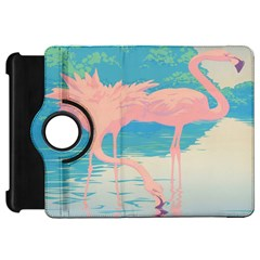 Two Pink Flamingos Pop Art Kindle Fire Hd Flip 360 Case by WaltCurleeArt