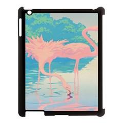 Two Pink Flamingos Pop Art Apple Ipad 3/4 Case (black) by WaltCurleeArt