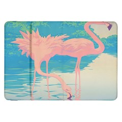 Two Pink Flamingos Pop Art Samsung Galaxy Tab 8 9  P7300 Flip Case by WaltCurleeArt
