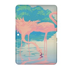 Two Pink Flamingos Pop Art Samsung Galaxy Tab 2 (10 1 ) P5100 Hardshell Case  by WaltCurleeArt