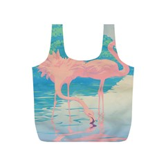 Two Pink Flamingos Pop Art Full Print Recycle Bags (s)  by WaltCurleeArt