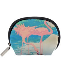 Two Pink Flamingos Pop Art Accessory Pouches (small)  by WaltCurleeArt