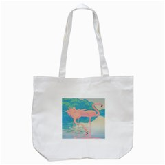 Two Pink Flamingos Pop Art Tote Bag (white) by WaltCurleeArt