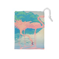 Two Pink Flamingos Pop Art Drawstring Pouches (medium)  by WaltCurleeArt