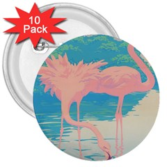 Two Pink Flamingos Pop Art 3  Buttons (10 Pack)  by WaltCurleeArt