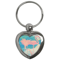 Two Pink Flamingos Pop Art Key Chains (heart)  by WaltCurleeArt