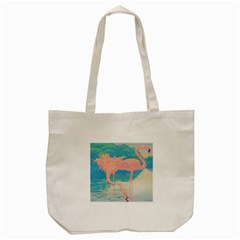 Two Pink Flamingos Pop Art Tote Bag (cream) by WaltCurleeArt