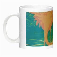 Two Pink Flamingos Pop Art Night Luminous Mugs by WaltCurleeArt