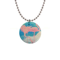 Two Pink Flamingos Pop Art Button Necklaces by WaltCurleeArt