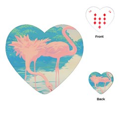 Two Pink Flamingos Pop Art Playing Cards (heart)  by WaltCurleeArt