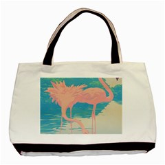 Two Pink Flamingos Pop Art Basic Tote Bag by WaltCurleeArt