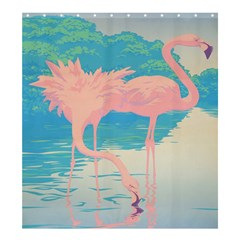 Two Pink Flamingos Pop Art Shower Curtain 66  X 72  (large)  by WaltCurleeArt