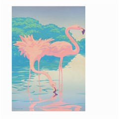 Two Pink Flamingos Pop Art Large Garden Flag (two Sides) by WaltCurleeArt