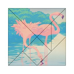 Two Pink Flamingos Pop Art Acrylic Tangram Puzzle (6  X 6 ) by WaltCurleeArt